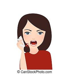 女, 電話, モビール, 怒る, 混乱, complain, 叫ぶこと, サービス, 会社