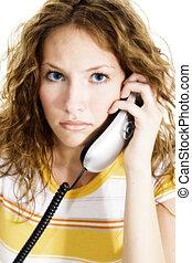 女, 電話, 十代