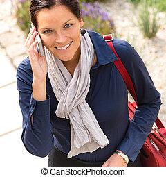 女, 電話, 女性実業家, 優雅さ, 呼出し, 話し, 微笑