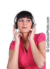 女, 音楽が聞く, 彼女, ヘッドホン