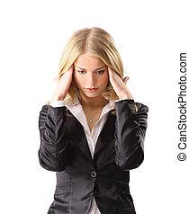女, 頭痛, 若い, ビジネス