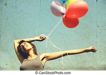 女, 風船, 若い, カラフルである