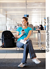 女, 飛行, 彼女, 待つこと, 若い, 空港