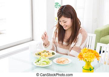 女, 食べる