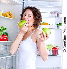 女, 食物, 若い, 健康, 冷蔵庫, 美しい