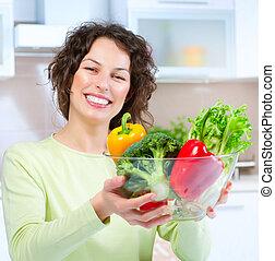 女, 食物, 若い, 健康, 美しい