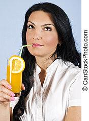 女, 飲むこと, オレンジジュース, そして, 夢