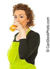 女, 飲むこと, オレンジ, 新たに