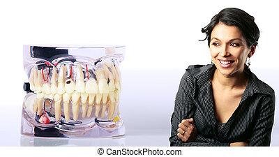 女, 驚かされる, 問題, モデル, 歯医者の, ラテン語, 見る