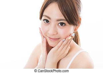 女, 魅力的, アジア人
