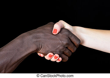 女, 黒い背景, 手, 白, 人
