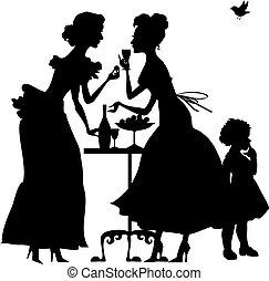女, 2, イラスト, silhouette., 優雅である, ベクトル, 女の子, パーティー。