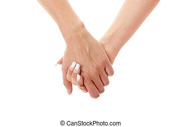 女, 2, 手を持つ