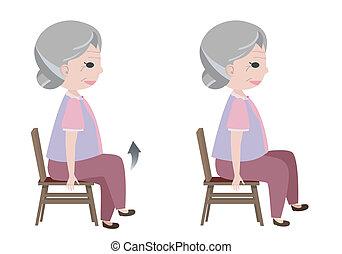 女, 3月, 練習, 着席させる, ベクトル, 姿勢