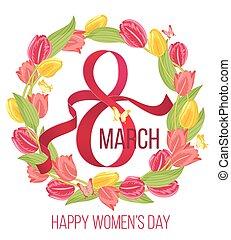 女, 3月, card., 春, フレーム, イラスト, ベクトル, チューリップ, 花の8, 日