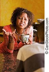 女, african-american, 議論, 持ちなさい, 深刻, マレ