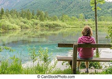 女, alps., モデル, 湖, ベンチ, オーストリア