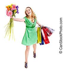 女, bag., 若い, 買い物