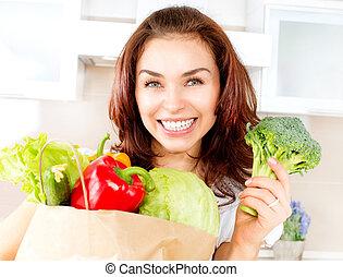 女, bag., 買い物, 幸せ, 若い, 野菜, 食事, 概念