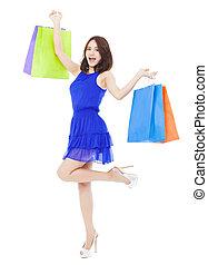 女, bags., 若い, 隔離された, アジア人, 買い物, 白