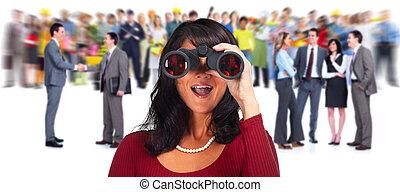 女, binoculars., ビジネス