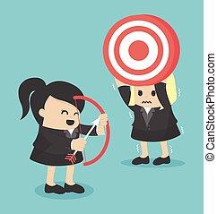女, bow.10, ビジネス, ターゲット 射撃