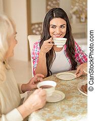 女, cafe., 彼女, お茶, かなり, 母, シニア, 飲み物