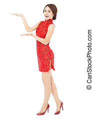 女, cheongsam, 若い, アジア人, かなり, standing.