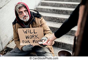 女, city., こじき, モデル, お金を与えること, よくわからない, ホームレスである, 人
