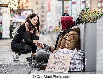 女, city., こじき, モデル, お金を与えること, 若い, ホームレスである, 人