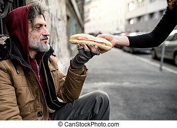 女, city., こじき, モデル, 寄付, 食物, よくわからない, ホームレスである, 人