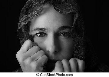 女,  Co, 東, 悲しい, 見る, 中央, 芸術的, 肖像画,  Hijab