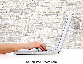 女, computer., 手, ラップトップ