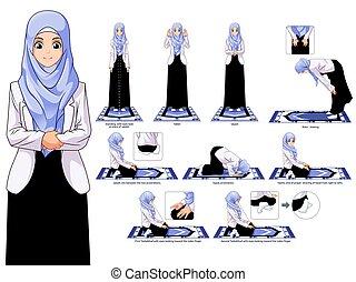 女, [converted].eps, 完了しなさい, 能力を発揮しなさい, muslim, ステップ, セット, 祈とうポジション, ガイド