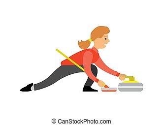 女, curling-broom, スポーツ, 英語, カール