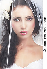女, delicacy., コーカサス人, 伝統的である, の後ろ, 花嫁のベール, 隠された