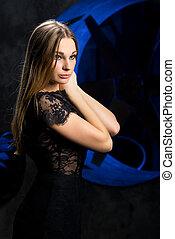 女, dress., 黒