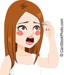 女, epilation, 眉毛, 痛み