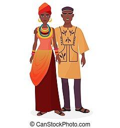 女, family., 恋人, clothes., 伝統的である, アフリカ, 国民, 人