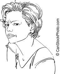 女, female., 疑い, 感情的, イラスト肖像画, 格好良い, 人, ベクトル, 魅力的, 顔, ...
