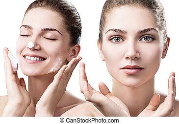 女, foam., コラージュ, 洗浄する, 若い, 皮膚