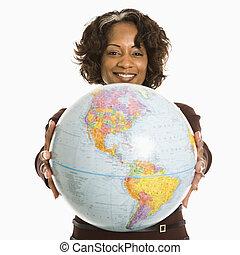 女, globe., 保有物