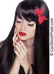 。, 女, hairstyle., 美しさ, 作りなさい, 隔離された, 長い髪, girl., ファッション, portrait., makeup., 背景, 素晴らしい, 黒, 白, style., 流行
