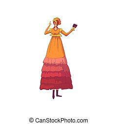 女, hood., red-haired, 旧式, イラスト, バックグラウンド。, ベクトル, オレンジ, 白いドレス
