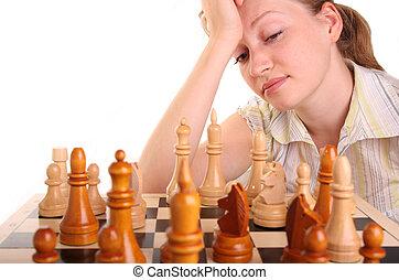 女, idee, 手, チェス, 人間, 白