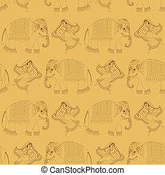女, indian, ダンス, 象
