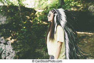 女, indian, 若い, 頭飾り