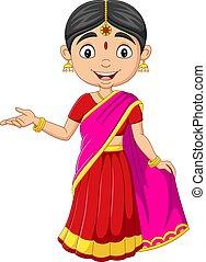 女, indian, 衣服, 漫画, 伝統的である