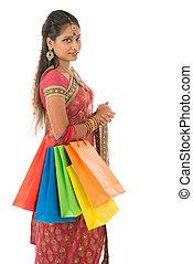 女, indian, 買い物客