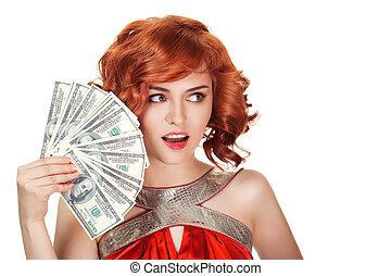 女, isolated., ドル, 毛, 保有物, 手。, 赤